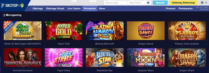 Microgaming Slot Games yang Disediakan Situs SBOTOP